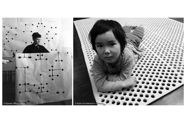 (Right) Ray Eames. (Left) Child.