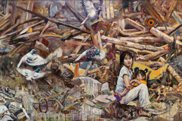 Hung Liu, Daughter of the Revolution, 1993. Oil on canvas. 80 x 160 inches. Collection of Marsha Eliza Smith and Larry Smith.