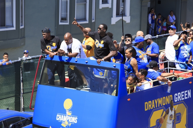 Draymond Green celebrating the Warriors Championship Parade. Photo: Oakland Museum of California