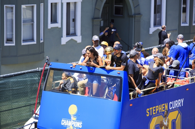 Steph Curry celebrating at the Warriors Championship Parade. Photo: Oakland Museum of California