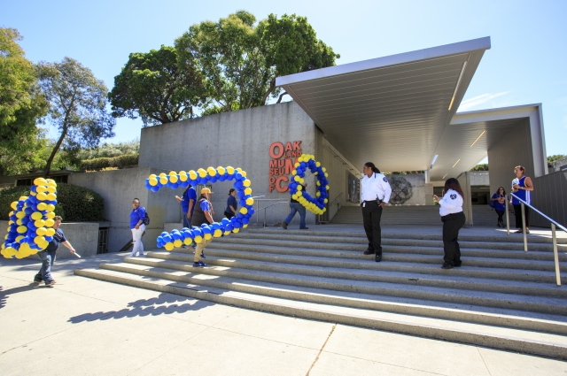 Gold and blue balloons at the Oakland Museum of California. Photo: Oakland Museum of California