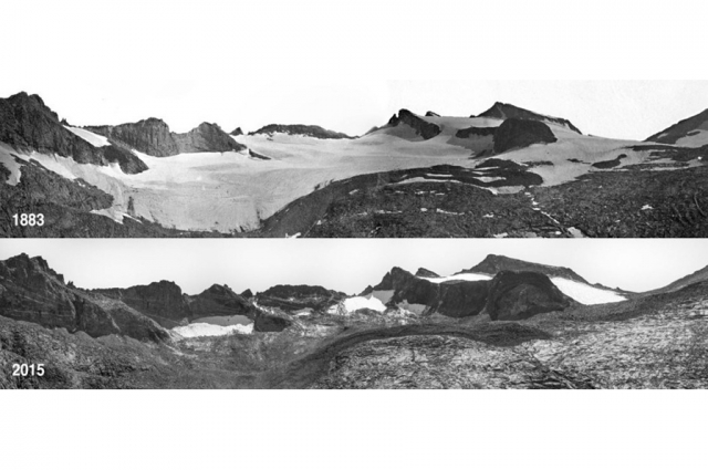 Glaciers receding in Yosemite over the last century. US National Park Service
