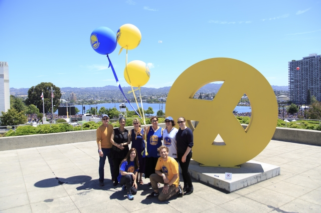 OMCA Staff on the Peace Terrace celebrating the Warriors Championship. Photo: Oakland Museum of California