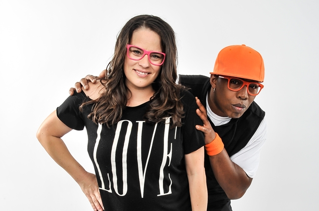 Tommy Shepard and Kaitlin McGraw of Alphabet Rockers posing against a white background