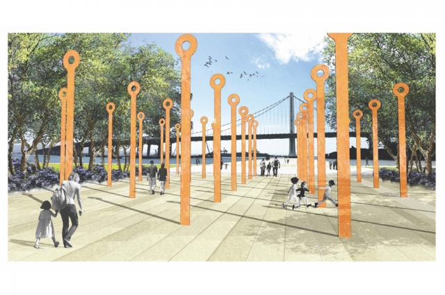 CMG Landscape Architecture and Treasure Island Community Development—The Field, a sculptural installation made from 'eye bars' salvaged from the old Bay Bridge, planned for the newly redeveloped Treasure Island.  Photo Credit: CMG Landscape Architecture