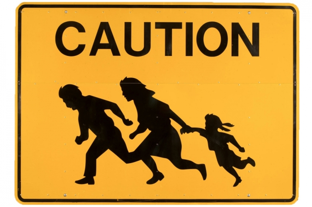 Caution, circa 2008. Laminated and printed aluminum; H: 60 in, W: 84 in, D: 3 in. Gift of the California Department of Transportation, District II, CALTRANS, San Diego