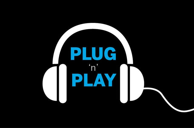 """Graphic illustration of headphones with text """"plug 'n' play"""""""