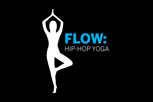 """Graphic illustration of a body doing standing yoga pose next to text """"flow: hip-hop yoga"""""""