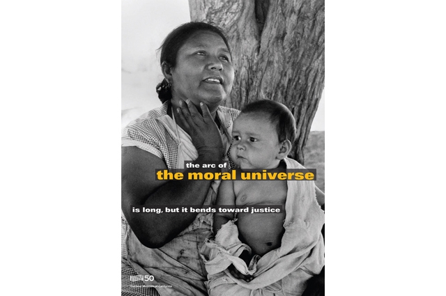 Black and white image of a mother holding a baby with text overlaid that reads: the arc of the moral universe is long, but it bends toward justice
