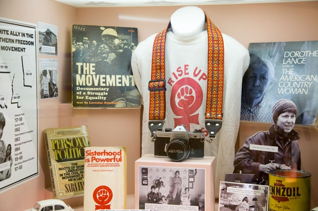 Forces of Change 1960s diorama with feminist memorabilia in the Oakland Museum of California History Gallery