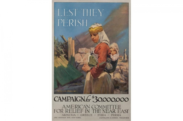 W.S. King and Conwell Graphic Companies, Lest They Parish, circa 1915. Poster, 18.5 x 12.375 in. Collection of the Oakland Museum of California, Gift of American Committee for relief in the near east.