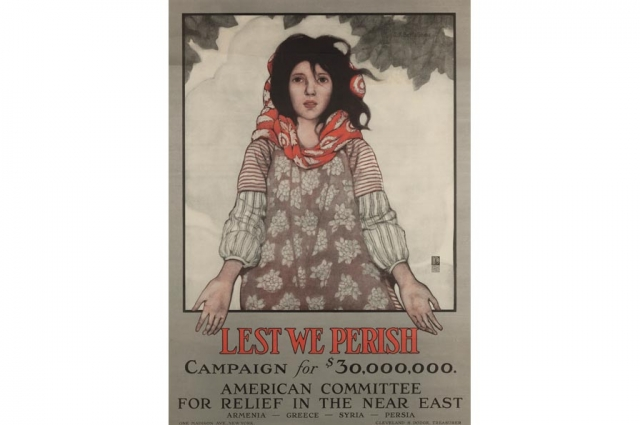 W.S. King and Conwell Graphic Companies, Lest We Parish, circa 1915. Poster, 18.5 x 12.375 in. Collection of the Oakland Museum of California, Gift of American Committee for relief in the near east.