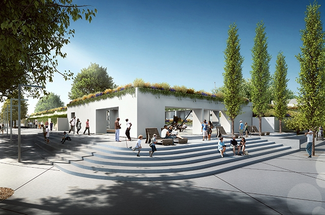 A rendering of what OMCA's Lakeside entrance will look like: a more open Garden entrance with people enjoying themselves in front of the Museum