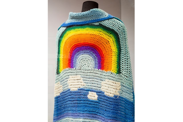Judith Wilson rainbow cape from Summer of Love in the Oakland Museum of California