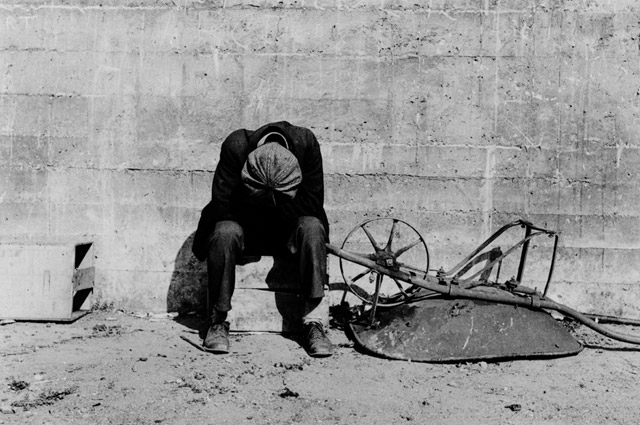 Dorothea Lange, Man Beside Wheelbarrow, 1934. © The Dorothea Lange Collection, the Oakland Museum of California, City of Oakland. Gift of Paul S. Taylor.