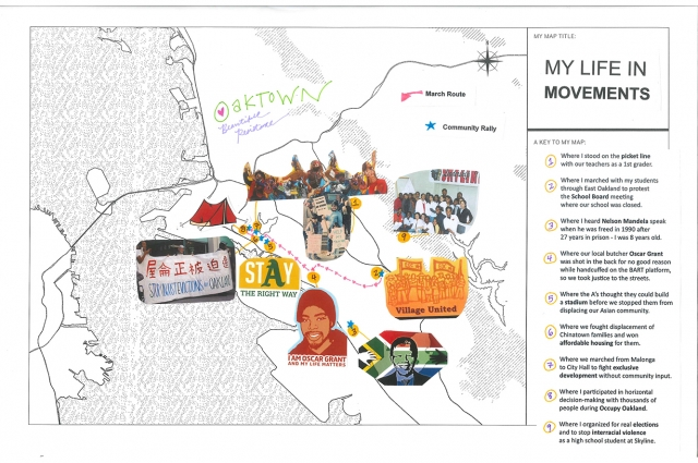 Map of Oakland with cut out images of Lailan Huen's important milestones placed over the map
