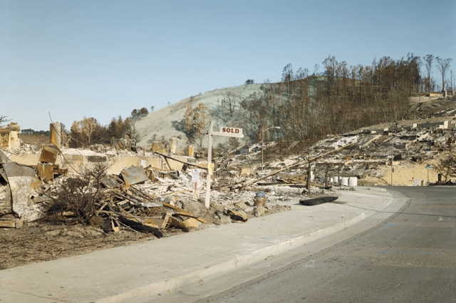 Richard Misrach, Oakland Fire #44-91 (Sold, Hiller Drive and Charing Cross Road), 1991. Pigment print, 59.5 x 75.1 inches. Collection of Oakland Museum of California, gift of the artist.