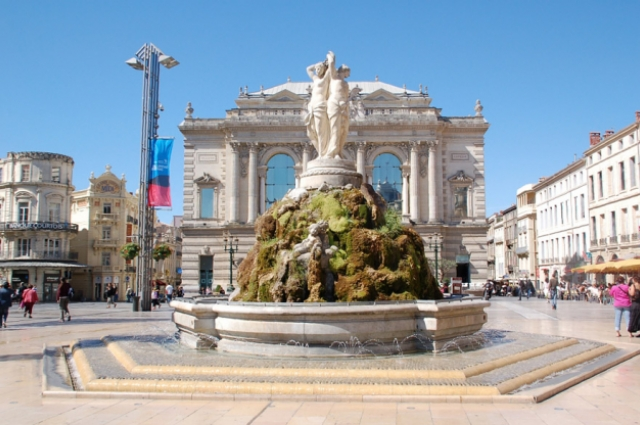 Fountain in front of the Opera, Montpellier, Languedoc-Roussillon, France, 2006. Fritz Geller-Grimm.