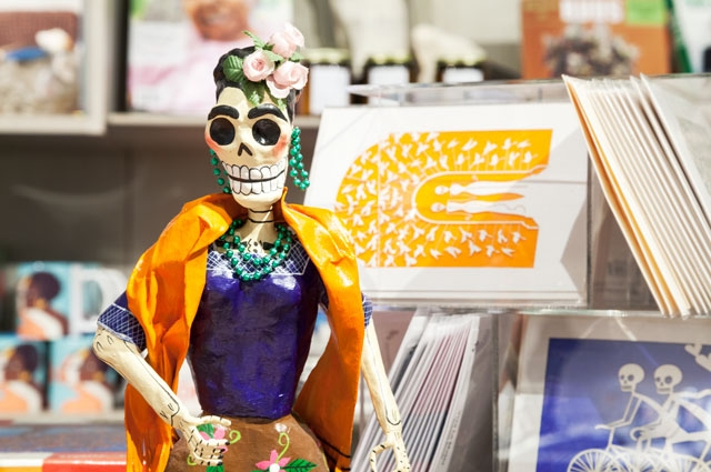 Days of the Dead skeleton sculpture at the OMCA Store