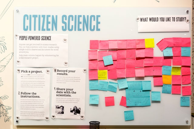 Oakland Museum of California's Citizen Science Vending Machine invites visitors to leave comments