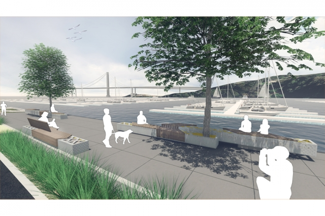 AECOM—proposal for benches made from trusses salvaged from the old Bay Bridge slated for new park promenade on Treasure Island. Photo Credit: AECOM