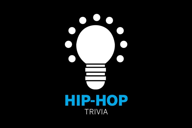 """Graphic illustration of a lightbulb surrounded by dots with text """"hip-hop trivia"""""""