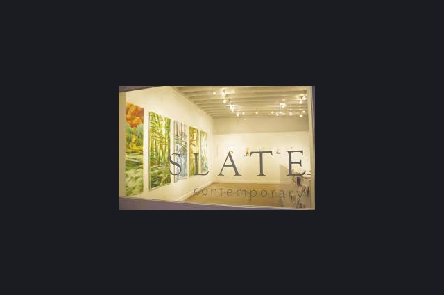 Image of an art gallery with text Slate Contemporary over it