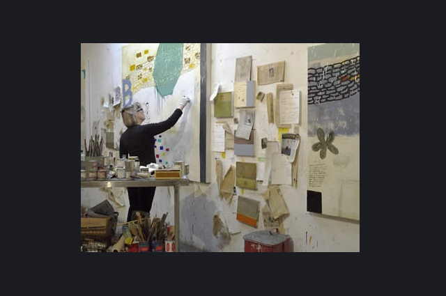 Bay Artist Squeak Carnwath painting in her gallery