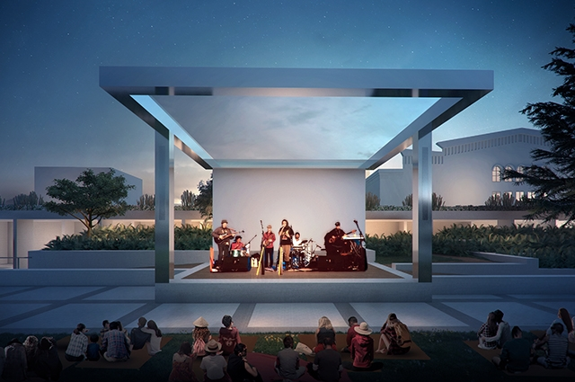 A rendering of OMCA's upcoming Garden stage with musicians playing guitars while visitors sit and enjoy in the Garden