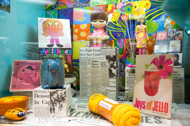 Summer of Love diorama in the Oakland Museum of California with jell-o cookbook