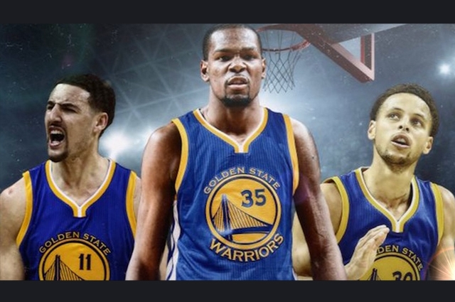 Image of Golden State Warriors Klay Thompson looking pumped, Kevin Durant looking ready to take on the world, and Stephen Curry looking up.