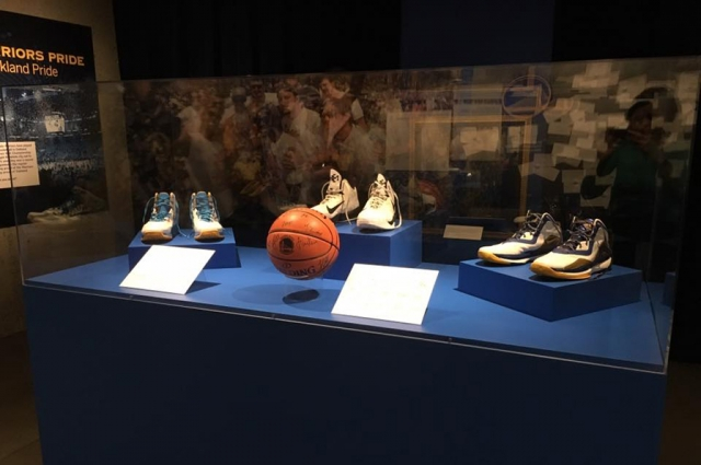 Players' shoes from the 2015 Golden State Warriors Championship team are on view in the Gallery of California History