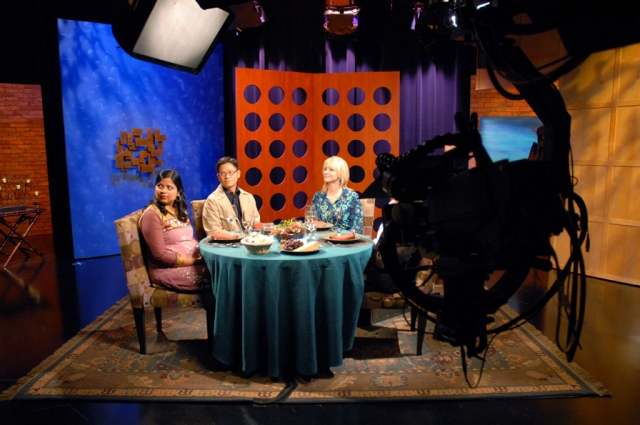 On the set of Check, Please! Bay Area at KQED's TV studio in San Francisco. Photo: Wendy Goodfriend. Courtesy of KQED Public Media.