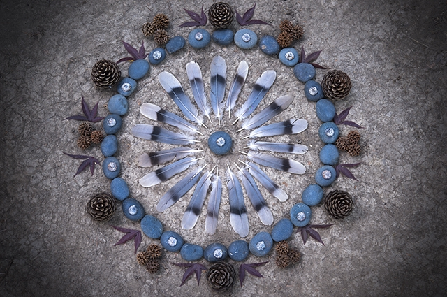 An aerial view of a circular altar made of blue bird feathers, blue stones, pinecones, leaves, and other natural materials