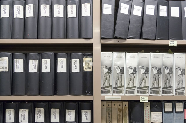 Binders of Dorothea Lange's contact sheets archived in the Oakland Museum of California collections