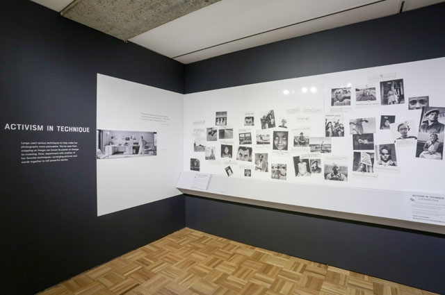 Installation shot inside the Oakland Museum of California's exhibit of Dorothea Lange photography