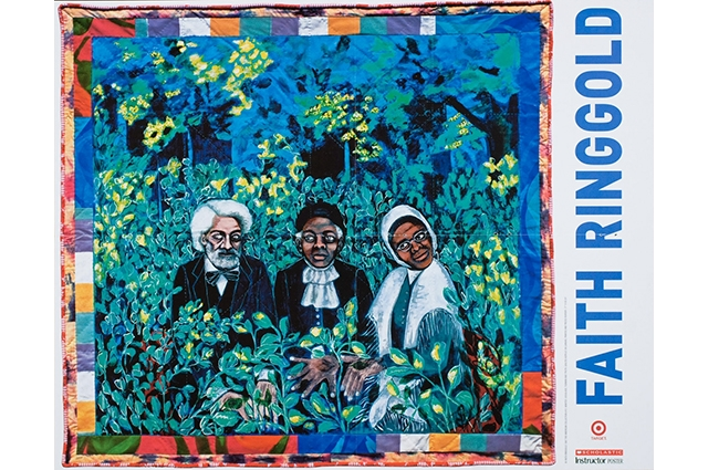 A quilt with the drawings of Frederick Douglass, Sojourner Truth, and Harriet Tubman in a dark field. The border reads: Faith Ringgold