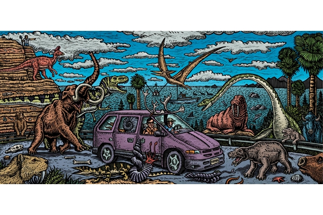 Colorful drawn image of two people driving in a purple van on a highway surrounded by dinosaurs and other prehistoric animals roaming around