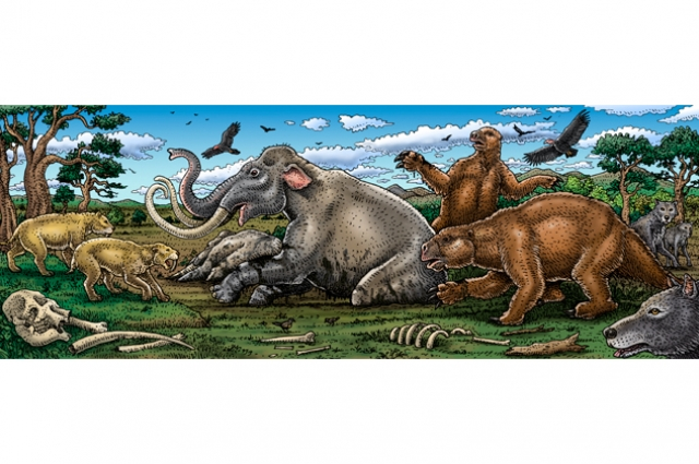 Drawn image of prehistoric animals in a swampy environment and bones scattered about the ground