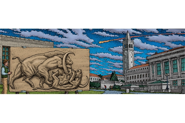Drawn image of a man holding a large picture of prehistoric animals while a meteor streaks by behind the city in the background