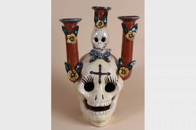 "Unknown, Skull Candle Holder (Capula, Michoacan, Mexico), 20th Century. Polychrome glazed ceramic, 13"" H x 9"" W x 8"" D. Courtesy of The Mexican Museum; Gift of the Estate of Paul Sherrill"