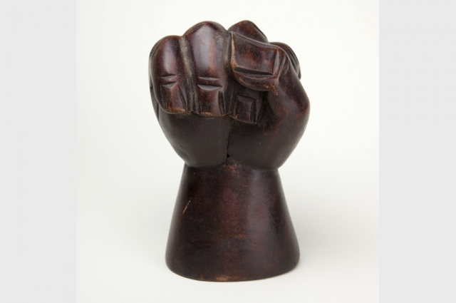 Fist sculpture inside the art galleries at OMCA in Oakland