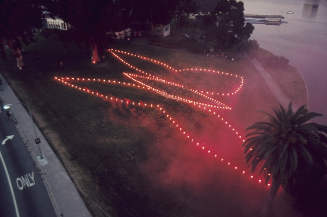 Documentation of Judy Chicago's, A Butterfly Atmosphere for Oakland, 1974. 35mm color transparency. Courtesy of the artist and Paul Chadbourne Mills Archives of California Art, Oakland Museum of California.