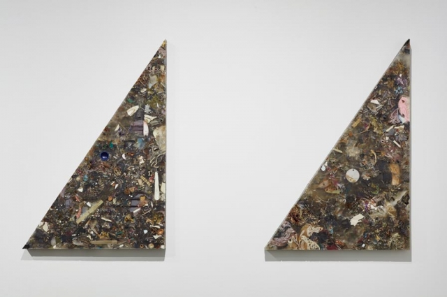 "Jedediah Caesar, Green(gre-y?) prologue: 5/, 2015. Epoxy, collected materials, hardware, 2 triangular panels (diptych) each 23"" x 33"" x 1.5"" inches. Courtesy of Jedediah Caesar, Photo by Johnna Arnold"