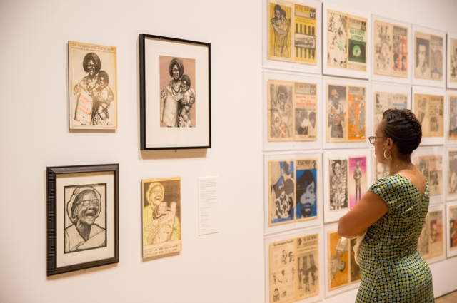 Art by Gayle Dickson and copies of The Black Panther newspaper in All Power to the People: Black Panthers at 50. Photo: Odell Hussey Photography