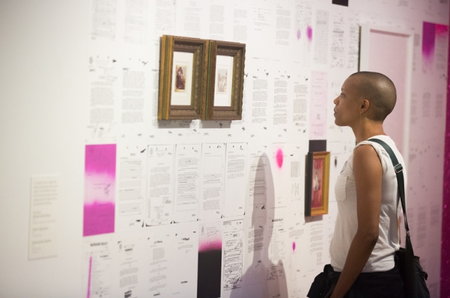 Artist Sadie Barnette's installation about COINTELPRO's file on her father in All Power to the People: Black Panthers at 50. Photo: Odell Hussey Photography