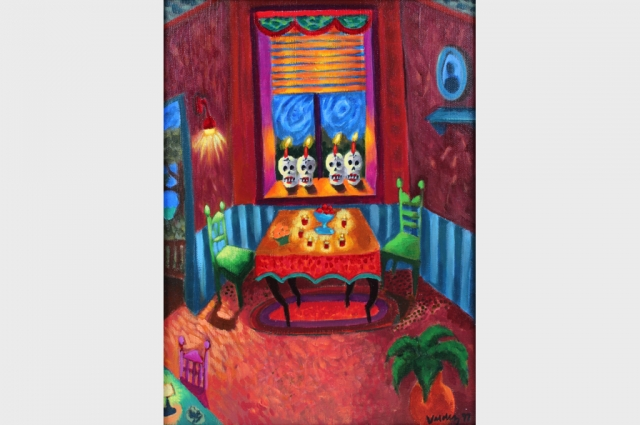 "Patssi Valdez, Four Calaveras, 1998. Seigraph, 17.25"" H x 13"" W x 1.25"" D (framed). Courtesy of The Mexican Museum; Gift of Tere Romo"