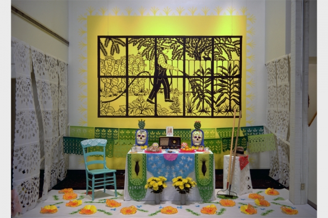 Carmen Lomas Garza, Ofrenda Para Antonio Lomas, 1995. Laser cut steel, 20-gauge, powder coated, 58-1/2 x 99 inches (ten sheets assembled), limited edition of 7. Courtesy of the artist.