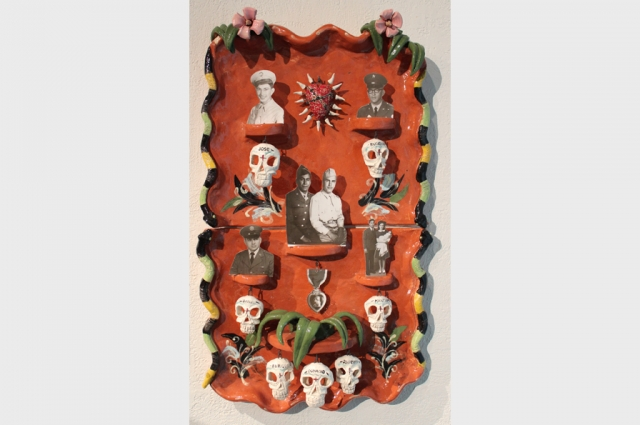 "Joe Mariscal, Altar para Daddy Mart, 1985. Glazed ceramic, mixed media, 38"" H x 22.5"" W x 6"". Courtesy of The Mexican Museum; Gift of the Artist"