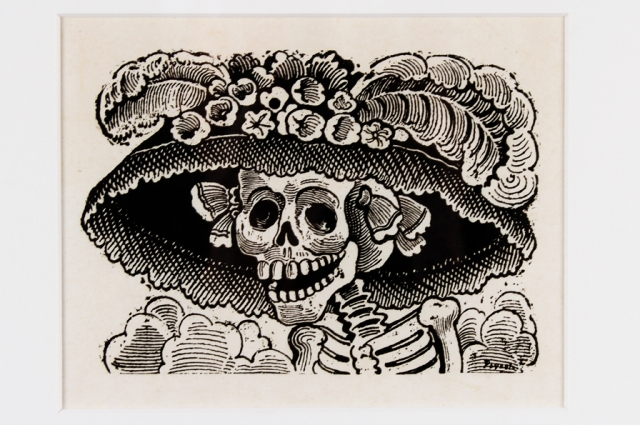 "José Guadalupe Posada, La Calavera Catrina, 1913. Etching on paper, 5.5"" H x 7"" W. Courtesy of The Mexican Museum, Gift of William C. Estler."